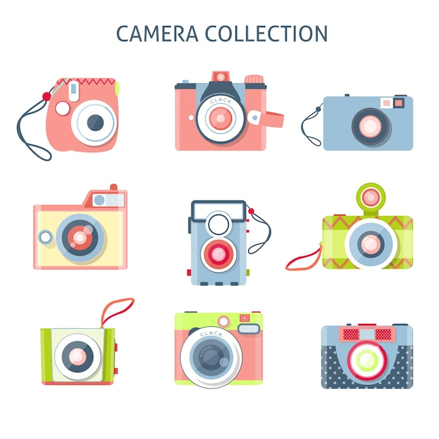 Set of creative cameras in flat design