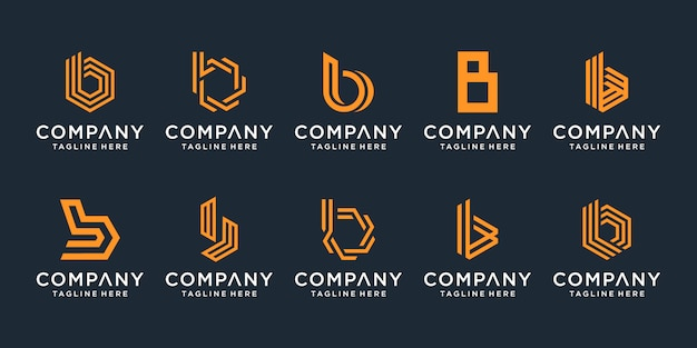 創造的な手紙bロゴデザインコレクションのセットです。 Premiumベクター