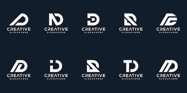 クリエイティブレターdロゴデザインコレクションのセット Premiumベクター