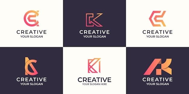 Набор творческих буквы k абстрактный дизайн логотипа Premium векторы