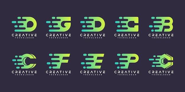 創造的な文字のロゴのデザインテンプレートのセットです。初期のロゴデザイン。ロゴタイプ Premiumベクター