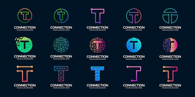 Набор творческой буквы t логотип современных цифровых технологий Premium векторы