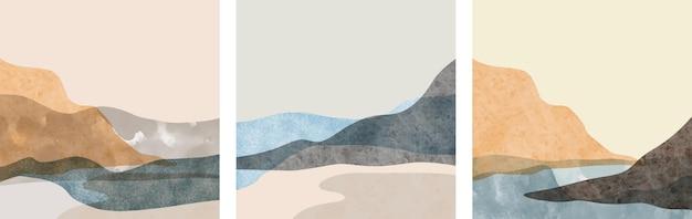 크리 에이 티브 미니멀 손으로 그린 세트. 추상 예술 배경입니다. 프리미엄 벡터