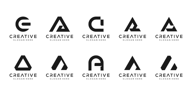 創造的なモノグラム文字のロゴデザインテンプレートのセット。 Premiumベクター