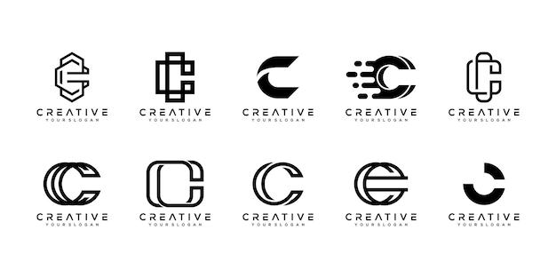 創造的なモノグラム文字cロゴデザインテンプレートのセットです。 Premiumベクター