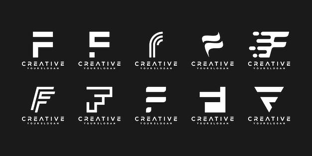 創造的なモノグラム文字fロゴデザインテンプレートのセット Premiumベクター