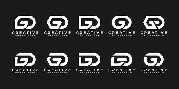 創造的なモノグラム文字g、dロゴデザインテンプレートのセット。ロゴは会社を建てるために使用することができます。 Premiumベクター