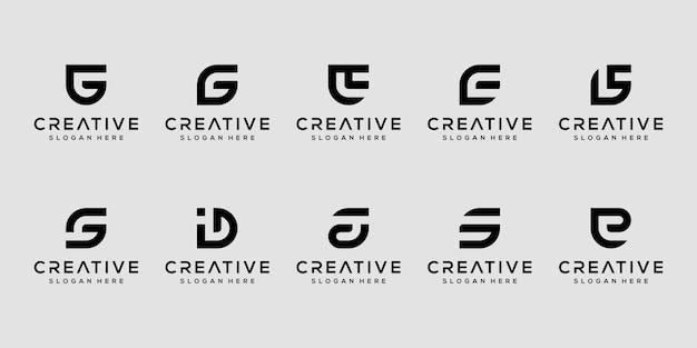 創造的なモノグラム文字g、s、eのロゴデザインテンプレートのセット Premiumベクター