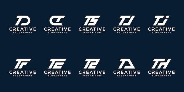 創造的なモノグラム文字tロゴデザインテンプレートのセット Premiumベクター