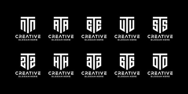 Набор творческих вензелей буква t логотип дизайн шаблона Premium векторы