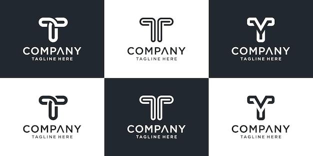 Набор творческих вензеля буква t логотип шаблон. Premium векторы