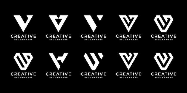 創造的なモノグラム文字vロゴデザインテンプレートのセット。 Premiumベクター