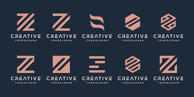 創造的なモノグラム文字zロゴデザインテンプレートのセットです。 Premiumベクター