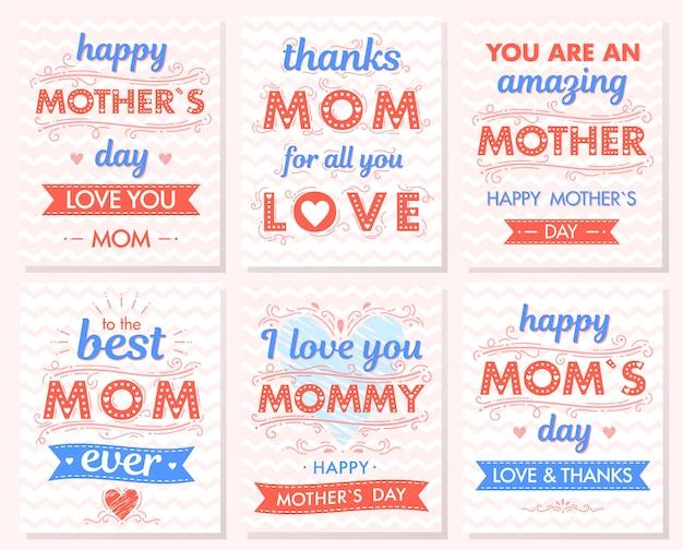 마음, 구름, 지그재그 배경, 포옹과 키스, 리본으로 창조적 인 어머니의 날 Cards.hand 그린 글자의 집합입니다. 인쇄, 전단지, 배너, 초대장에 대 한 완벽 한 계절 인사말 카드. 프리미엄 벡터