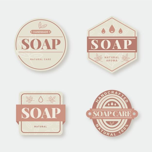 創造的な石鹸ラベルのセット 無料ベクター