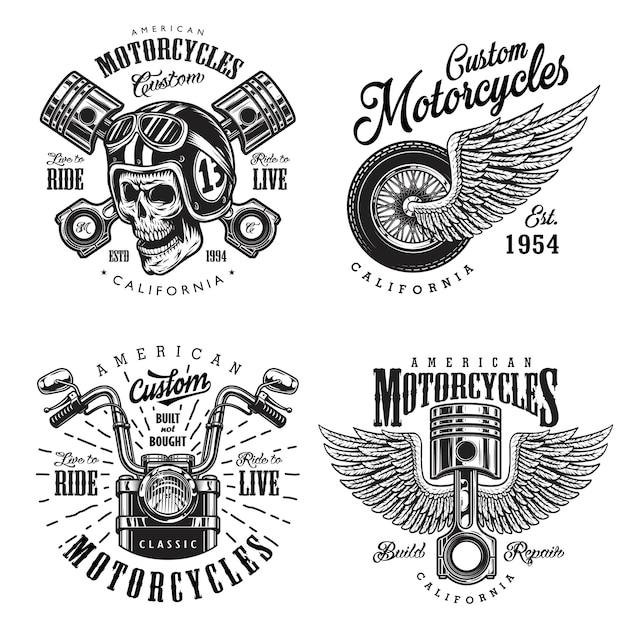Набор пользовательских эмблем мотоцикла Premium векторы