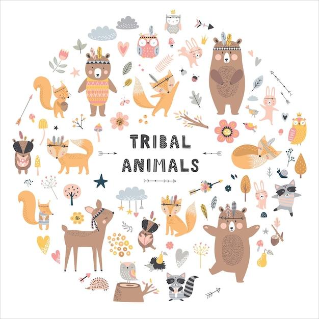Набор милых животных. лесные животные, медведь, олень, лиса, кролик, птица, ёжик. Premium векторы