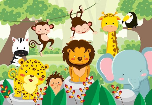 ジャングルの中でかわいい動物のセット Premiumベクター
