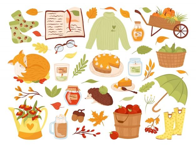 귀여운가 동물 캐릭터, 식물 및 음식 그림의 집합입니다. 가을 시즌. 여우, 호박, 파이. 파티, 추수 축제 또는 추수 감사절을위한 가을 스크랩북 요소의 컬렉션입니다. 프리미엄 벡터