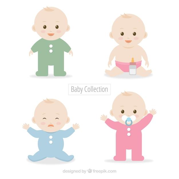 귀여운 아기 세트 무료 벡터