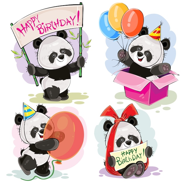 set of cute baby panda bears with happy birthday banner with bow