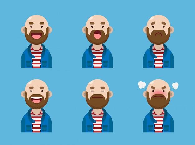 Набор милого лысого человека avatar expression collection design Premium векторы