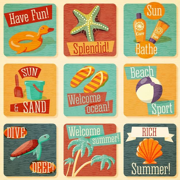 文字体裁の要素を持つかわいい明るい夏のエンブレムのセット。ベクター。 Premiumベクター