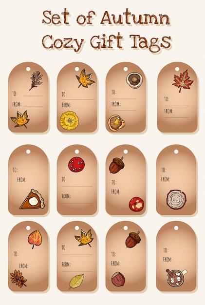 Набор милый мультфильм осенние элементы подарочные теги. симпатичная коллекция этикеток осенью. грибы, желудь, яблочный пирог с тыквой Premium векторы
