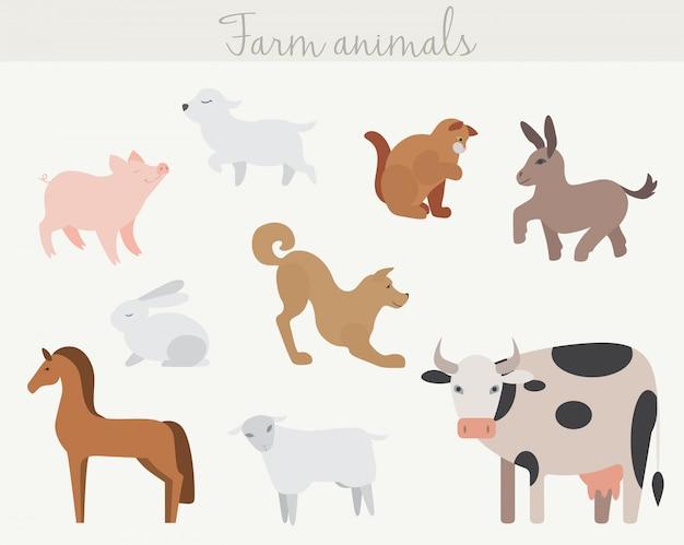 かわいい漫画の農場の動物のセットです。 Premiumベクター