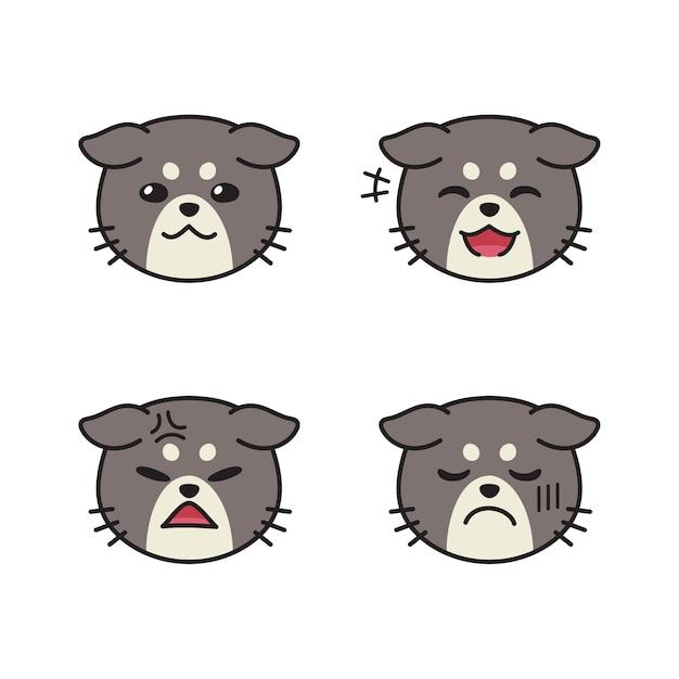 Набор милых кошачьих лиц, показывающих разные эмоции Premium векторы