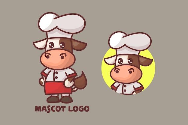 オプションの外観を持つかわいいシェフの牛のマスコットのロゴのセット。 Premiumベクター