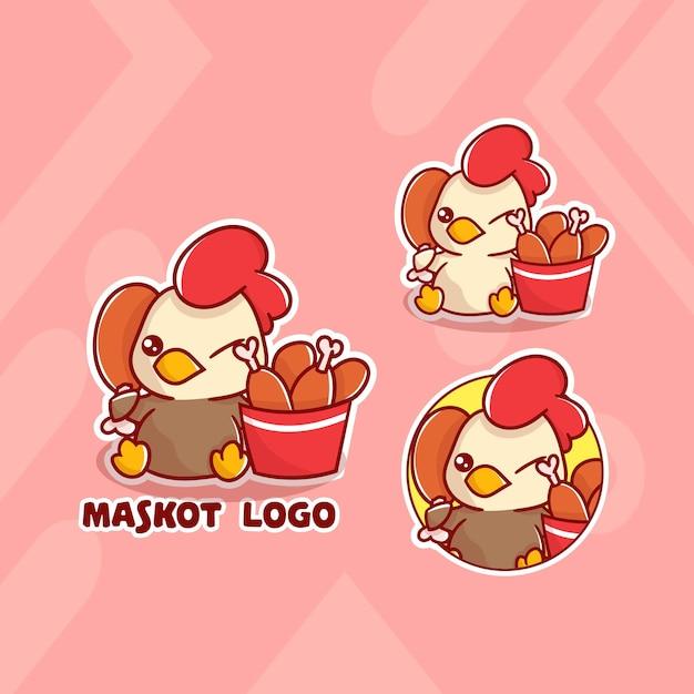 선택적 모양의 귀여운 닭 양동이 마스코트 로고 세트. 귀엽다 프리미엄 벡터