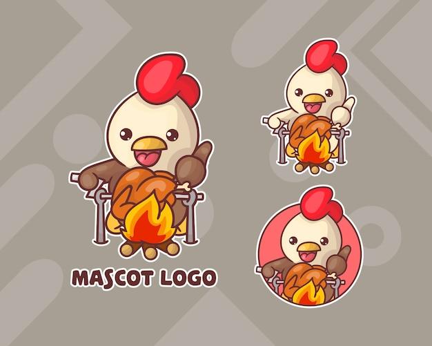 선택적 모양의 귀여운 치킨 마스코트 로고 세트. 프리미엄 벡터