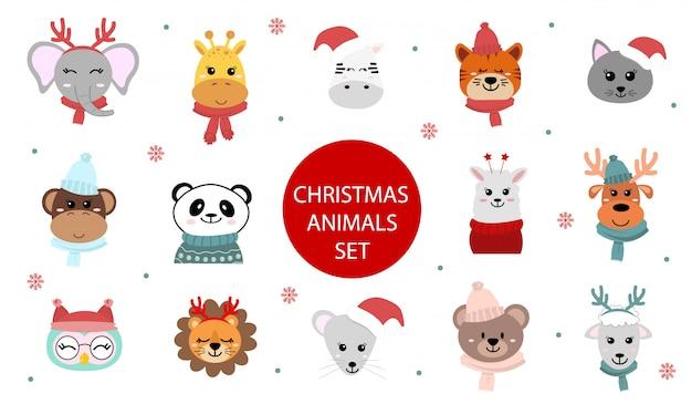 귀여운 크리스마스 동물 캐릭터의 집합입니다. 만화 동물원. 플랫 스타일의 그림. 아프리카와 시베리아 동물. 프리미엄 벡터