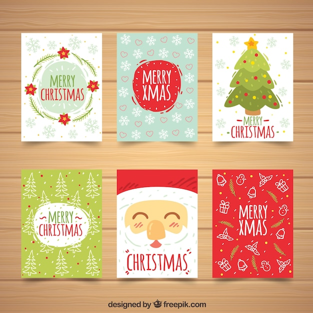 set of cute christmas cards free vector