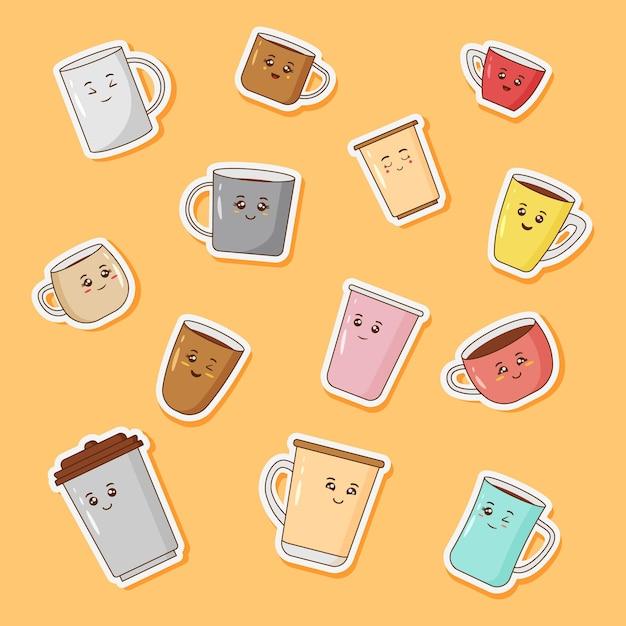 귀여운 커피 컵 스티커 세트 프리미엄 벡터