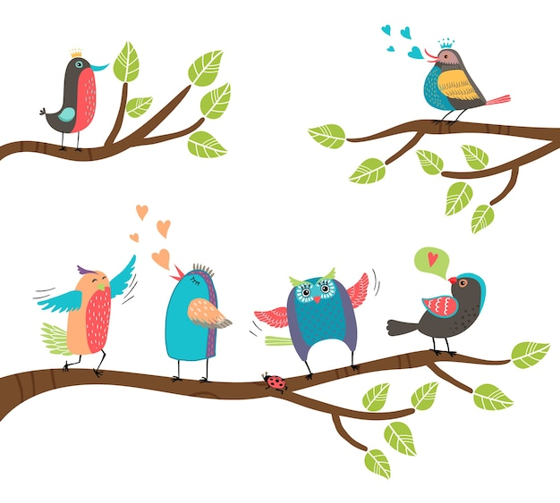 Набор милых красочных мультяшных птиц, сидящих на ветвях с черным дроздом, неразлучником, совой, дроздом, малиновкой, поет и чирикает с двумя, участвующими в ухаживании Бесплатные векторы