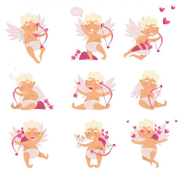 Набор милый амур в разных действиях. мультфильм маленький мальчик с крыльями. ангел любви с розовым луком и стрелами Premium векторы