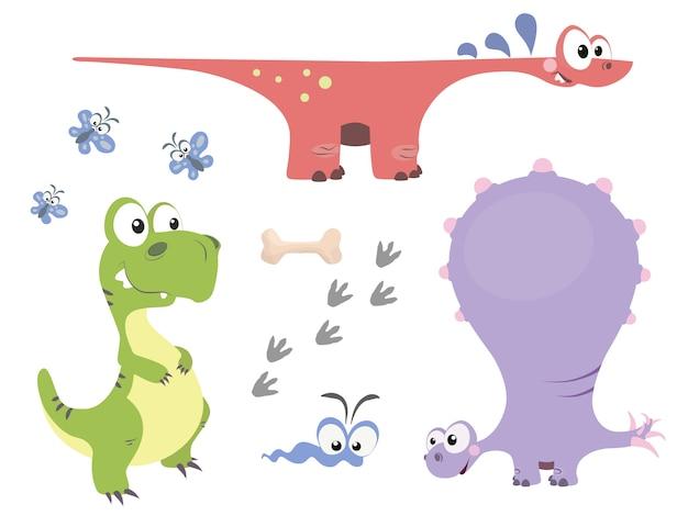 漫画のスタイルでかわいい恐竜のセット Premiumベクター