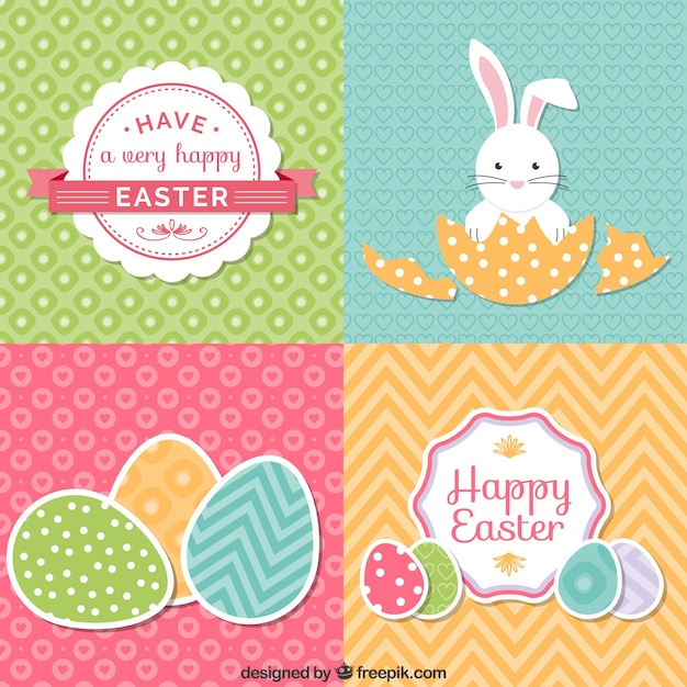 Set of cute easter cards Free Vector