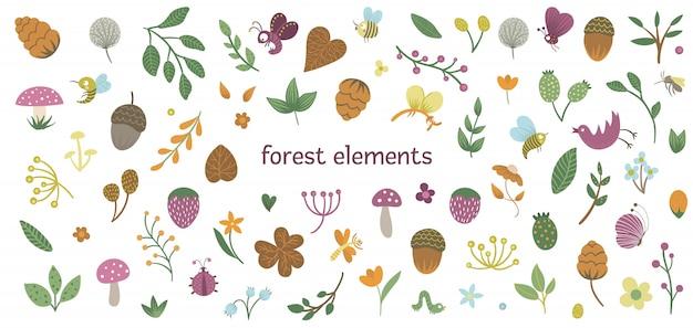 かわいい平らな森の昆虫や植物のセット。フォレスト要素のコレクション。文房具、テキスタイル、壁紙の美しい幼稚なデザイン。 Premiumベクター