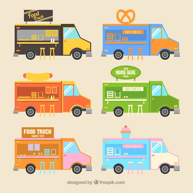 Set of cute food trucks in flat style