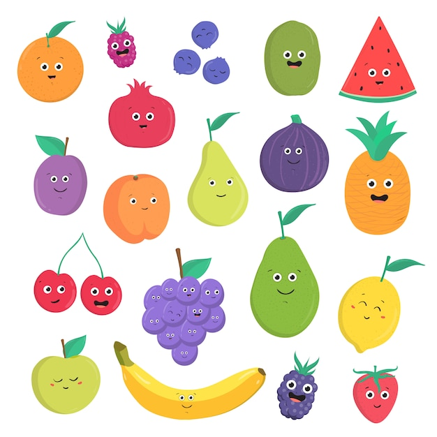Набор милые фрукты и ягоды с улыбками. яркое вегетарианское собрание еды на белой предпосылке. красочная иллюстрация в мультяшном стиле. Premium векторы