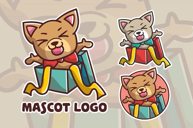 Набор милый подарок собака талисман логотип Premium векторы