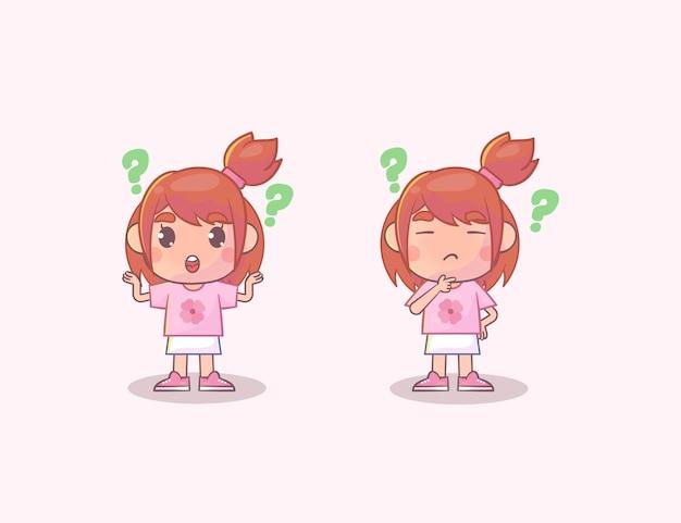 핑크에 고립 된 생각하는 귀여운 소녀 세트 프리미엄 벡터
