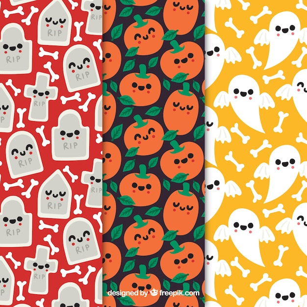 Set of cute halloween patterns with cute\ characters