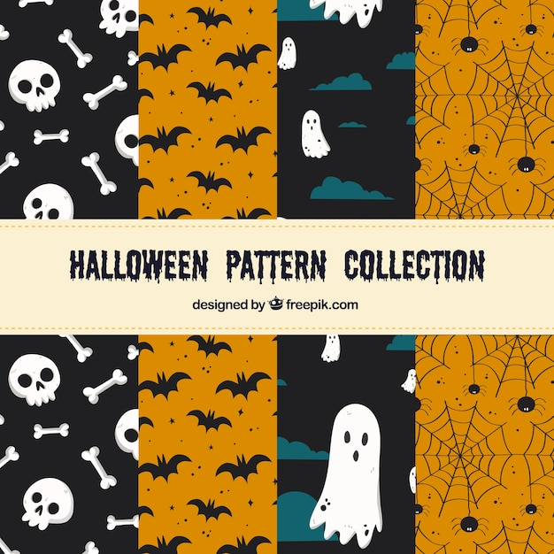 Set of cute halloween patterns
