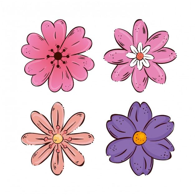 かわいい手描きの花のセット Premiumベクター