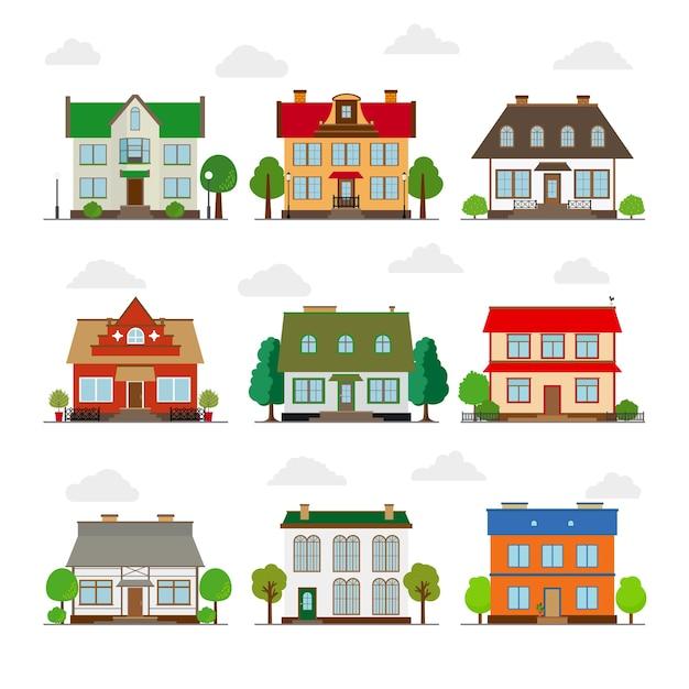 Набор милых домов в плоском стиле. строительство и дом, архитектура и собственность Бесплатные векторы