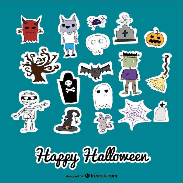 Set of cute icons stickers of halloween Free Vector
